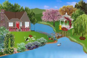 Cottage, Pergola, Fleurs, Rivière, Eau, Bord De L'Eau